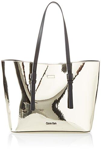 Calvin Klein - Ck Zone Medium Shopper Metalic, Bolsos totes Mujer, Dorado (Light Gold), 14x25x41 cm (B x H T)