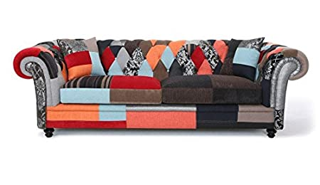 Patchwork Modern 3 Seater Chesterfield Sofa Hand Stitched Upholstery