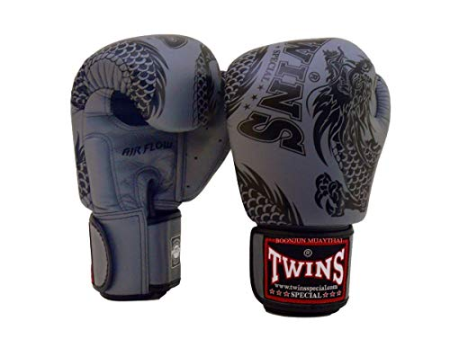 Twins Special Muay Thai Boxing Gloves BGVLA 2 Air Flow Gloves. Univesal Gloves for Training or Sparring. (FBGV49 Gray/Black, 12 oz)