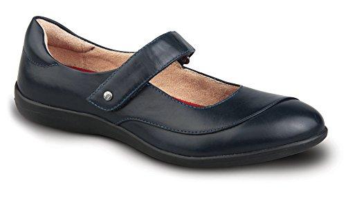 Revere Donne Amalfi Scarpa Confort Con Plantare Rimovibile E Cinghia Marina Cuoio Velcro