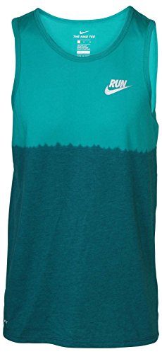 Nike Men's Dri- Fit Dip Tie Dye Running Tank Top-Green Ombre 922174 351 ()