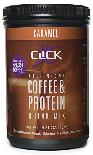 CLICK All-in-One Protein & Coffee Meal Replacement Drink Mix, Caramel, 15.3 Ounce (Best Weight Loss Shakes In Stores)