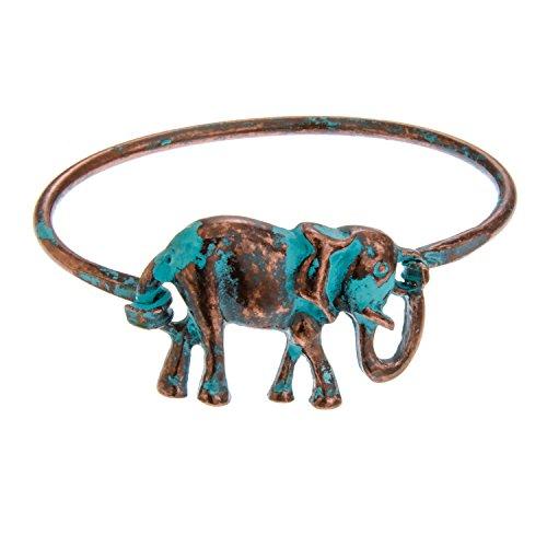 PammyJ Coppertone Elephant with Patina Finish Thin Bangle Bracelet