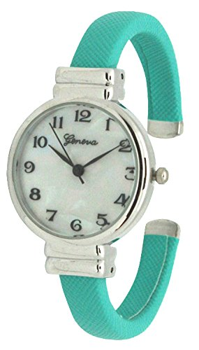 Geneva Saffiano Leather Bangle Watch with Silver White Face Dial (Mint) (Mint Leather Bangle)