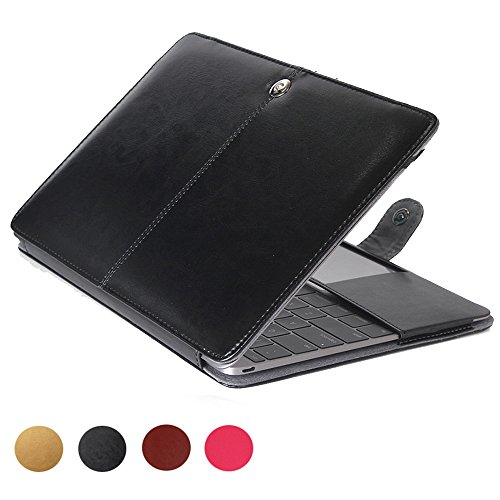MacBook Air 11 inch PU Leather Case,Vintage Classic Design, Slim & Thin,Precise Cut-Out,elecfan Protective Business Case Cover Shell - Black (Pu Leather Design Slim)