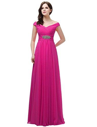 jydress womes cuello de pico gasa largo vestido de fiesta formal vestido novia Hot Pink