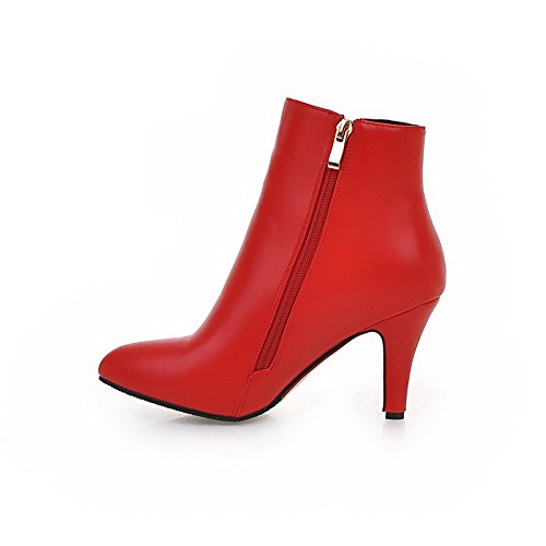 AgooLar Women's High Heels Solid Pointed Closed Toe Zipper Boots Red Wd5vsS303g