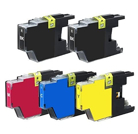 Brother Compatible LC75 (LC-75) Set Of 5 High Yield (2xBK, 1xC, 1xM, 1xY) For for (Brother Printer Ink Lc 75)