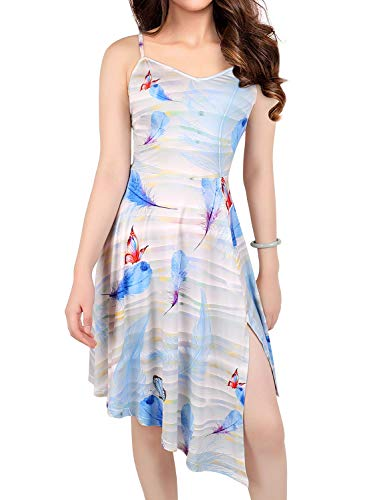 Women's Summer Floral Flowy Spaghetti Strap V-Neck Sleeveless Side Slit Irregular High Low Casual Beach Sundress Midi Dress