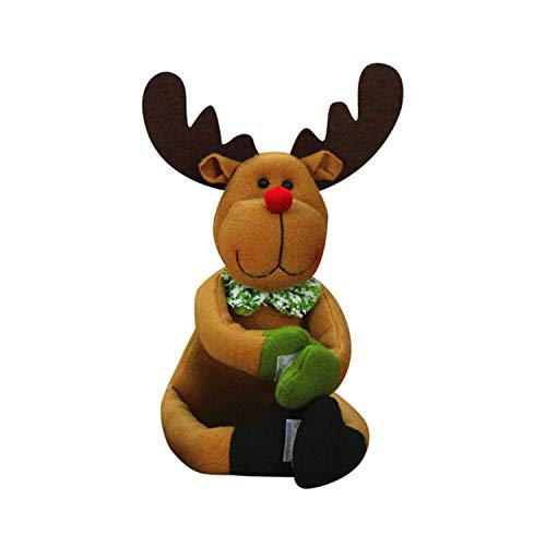 Noon-Sunshine decorative-plaques Christmas Red Wine Bottle Cover Christmas Cloth Doll Ornaments Santa Snowman,Elk]()