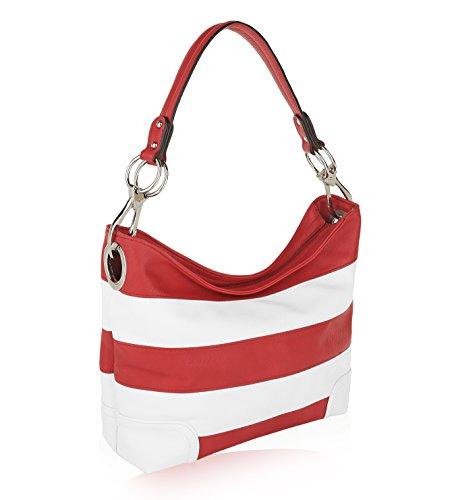 MKF Collection by Mia K Farrow Emily Soft Vegan Leather Stripe Hobo Handbag