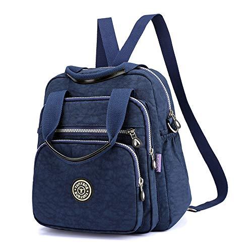 Multi-Pocket Crossbody Bags for Women Waterproof Nylon Shoulder Bag Travel Backpack Purse (Q-Blue)