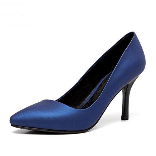 W&LM Zapato de cuero de señora Azul real Nivel uno Cuero de vaca es bueno Zapatos bajos Tacones altos Blue