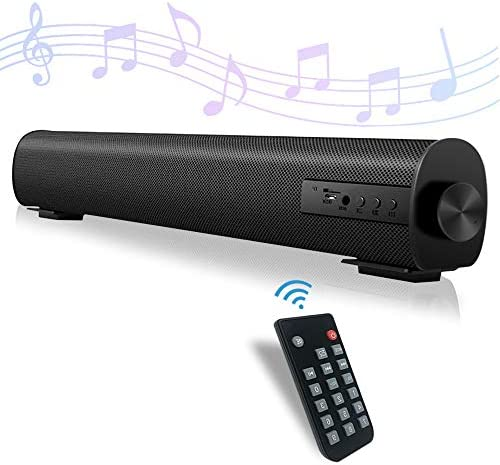 Sound Bar for TV Soundbar with Twin Constructed-in Subwoofer 15.8 Inch 3D Encompass Sound for Dwelling Theater Wired & Wi-fi Bluetooth 5.0 Audio Speaker for PC/Cellphone 3 Equalizer Modes (S09-Black)
