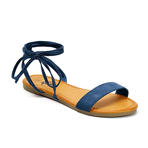 Trary lace up Sandal for Women Navy Blue 095 - Wrap Ankle Toe Sandal