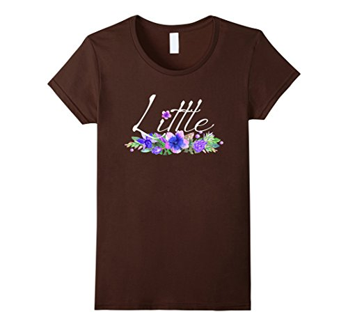 [Womens Little T Shirt for Sorority Families Big and Little Sisters Small Brown] (Big Sister Little Sister Costumes)