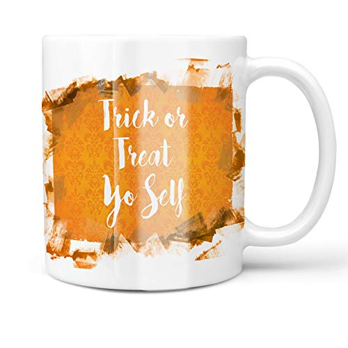 Neonblond 11oz Coffee Mug Trick or Treat Yo Self Halloween Orange Wallpaper with your Custom -
