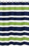 Vandarllin Navy Blue, Lime Green and White Kids Bathroom Fabric Bath Stripes Shower Curtain by