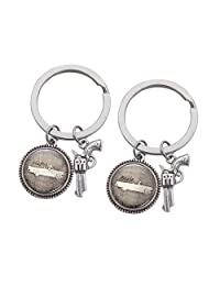 MayLove 2 Pcs Thelma and Louise Pistol Gun Keychain Gem Accessories Creative