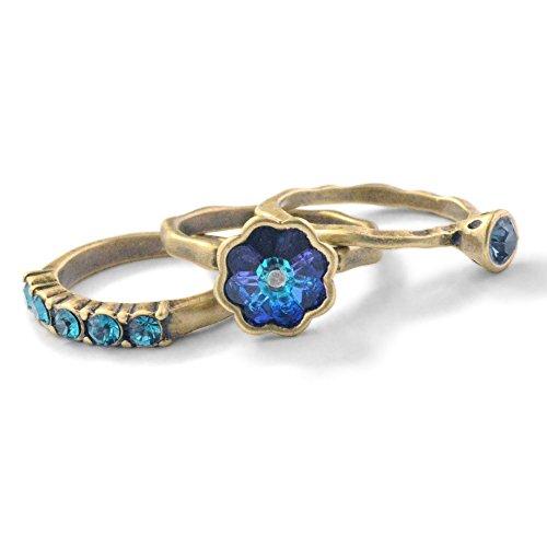 Vintage Flower Swarovski Crystal Inspirational Wanderlust Boho Stack Rings - Set of 3 Stacking Rings (D - Journey - Size 6) ()