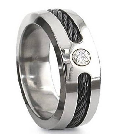 Men's 7mm Comfort Fit Contemporary Polished Titanium Wedding (Contemporary Comfort Fit Wedding Ring)