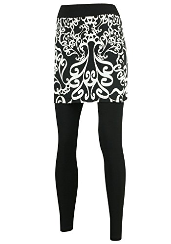 Ililily Damask Pattern Printed Skirt Leggings Plus-Size Long Skinny Pants (leggings-159-1-L)