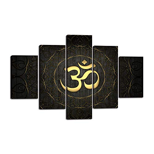 """- 5 Pieces Buddha OM Yoga Symbol Canvas Painting Abstract Golden Pattern Wall Art Decor Black Ornate Indian Yoga Circle Prints Pictures for Living Room Bedroom Dorm Home Decoration (60""""Wx40""""H)"""
