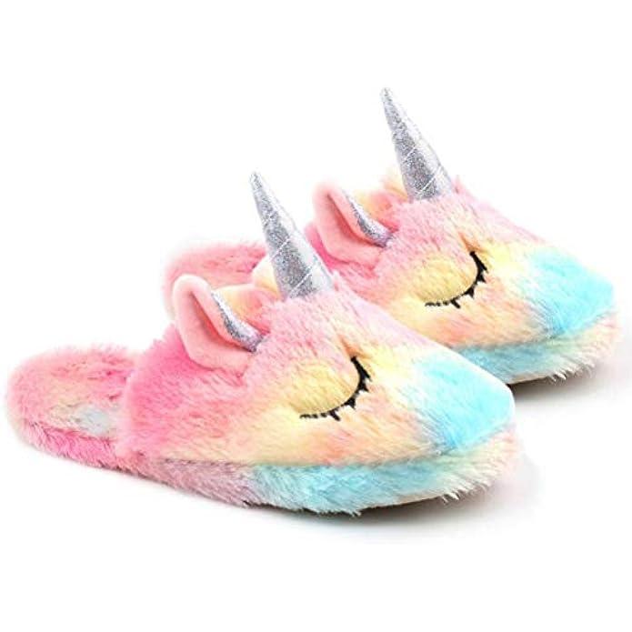 Unicorn Slippers for Girls Women Cute Cotton Slippers Rainbow Unicorn Slippers Warm Anti-Slip Slippers Unicorn Gifts for Girls
