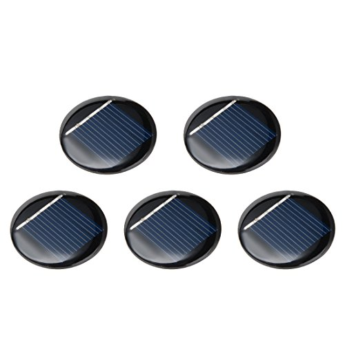 uxcell 5Pcs 2V 40mA Poly Mini Round Solar Cell Panel Module DIY for Phone Light Toys Charger 36mm Diameter (Diameter Panel)