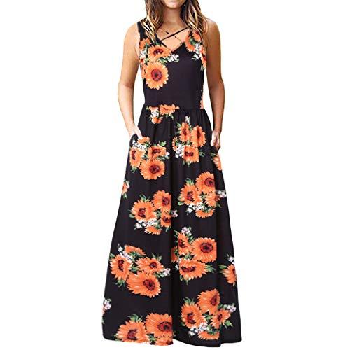 HYIRI Women's Sleeveless Racerback Dancewear Loose Plain Maxi Dresses Casual Dress Yellow]()