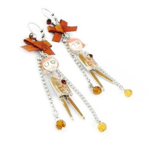 Les Trésors De Lily [H9805] - Dormeuses créateur 'Mangas' beige camel