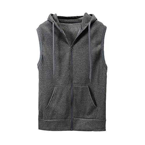 WUAI Clearance Men's Hoodie Jackets Sleeveless Slim Fit Waistcoat Solid Color Athletic Sports Tops(Grey,US Size S = Tag M) by WUAI (Image #4)