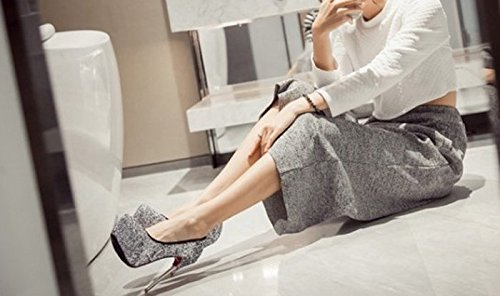 Platform Round Lady 13Cm Sequins High Shoes Heels Elegant Head Shoes Fine Women Heels Spring Work Night Leisure Single 39 Black Waterproof Shop MDRW 6PqdpSxP
