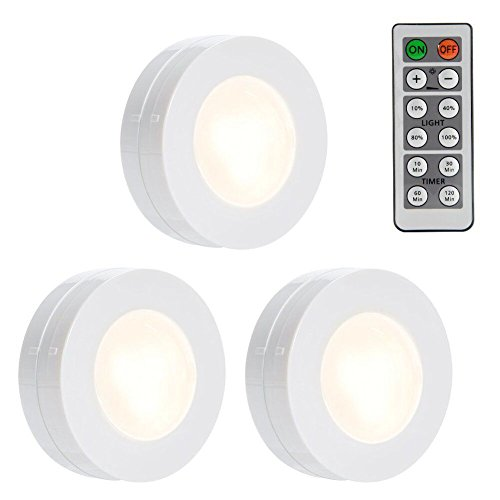 LUNSY Wireless LED Puck Lights, Dimmable Closet Lights Battery Operated with Remote Control, Kitchen Under Cabinet LED Lighting, 4000K Natural White - 3 Pack