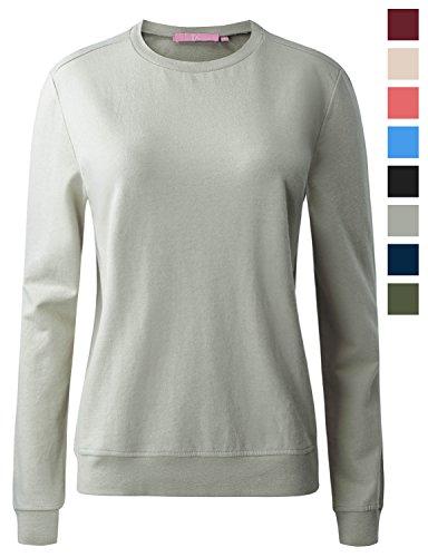 Crew Lightweight Pullover (REGNA X womens crewneck long sleeve cotton lightweight pullover sweatshirt)