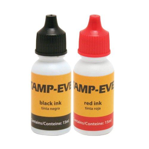 Stamp-Ever Refill Ink, 2 Pack, 15ml Bottles of Ink, Black/Red (6196)