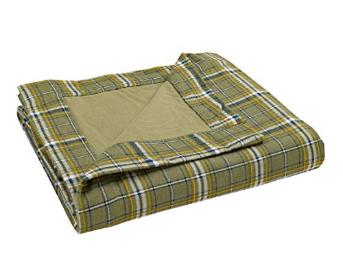 "DELANNA Flannel Throw, Reversible 2-Ply Thick Blanket 100% Cotton (50"" x 60"", Sage Plaid)"