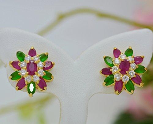 22k Earrings (Flower Cubic Zirconia AAA Syn Ruby Emerald 22k Yellow Gold Plated Women Girl Stud Earrings)