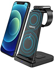 15W Wireless Charging Station, HMNXG 3 in 1 Detachable Fast Charging Stand Wireless Charger for iPhone 12/11/11 Pro Max/XR/XS Max/Xs/X/8/8P, Compatible with iWatch 6/5/4/3/2, AirPods Pro/Airpods 2 (QC 3.0 Adapter Not Included)