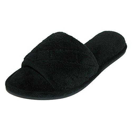 Pantofole In Spugna Per Donna, In Morbida Microfibra Di Pizzo Nero
