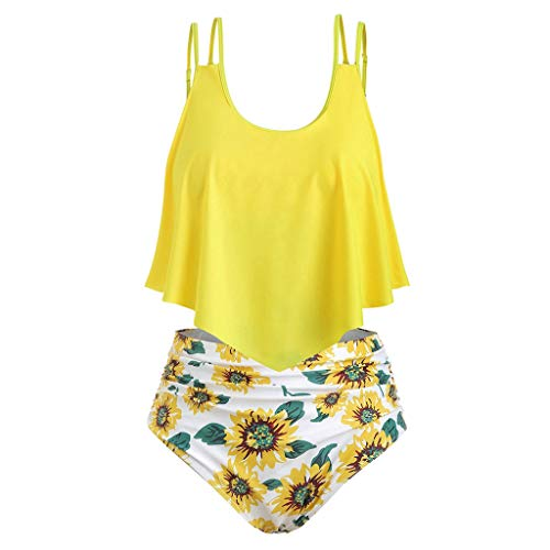 - ♡QueenBB♡ Swimsuits for Women Sunflower Print Two Pieces Bathing Suits Ruffled Racerback Top with High Waisted Bottom White