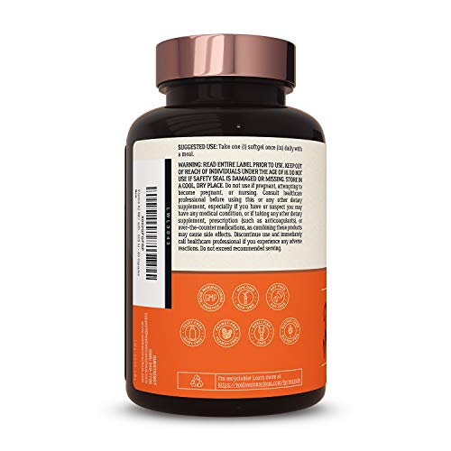 Vitamin K2 MK7 with D3 Supplement by LiveWell | Bone & Heart Health Support - Patented Vitamin K & Vitamin D3 5000 IU - 60 Capsules