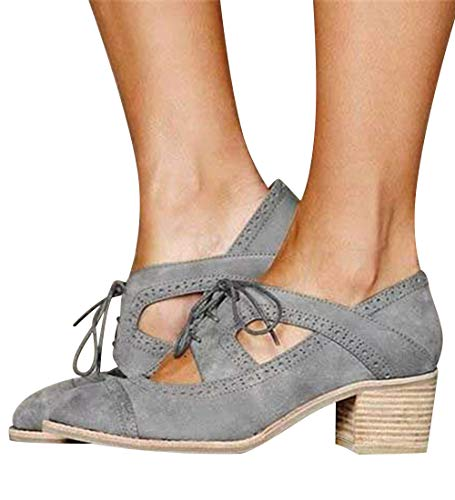 - XMWEALTHY Women's Stylish Lace Up Ankle Boots Cutout High Heels Platform Sandals Shoes Suede Grey US 7.5