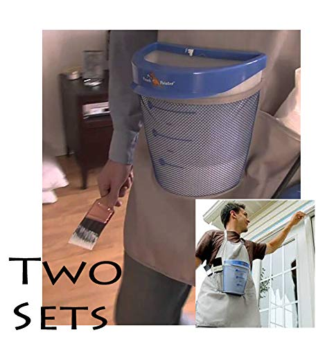 LeeMar Hands Free Pouch Painter Break/Spill Resistant Bucket and Apron (Set of 2) Holds Paint Brushes and Paint by LeeMar