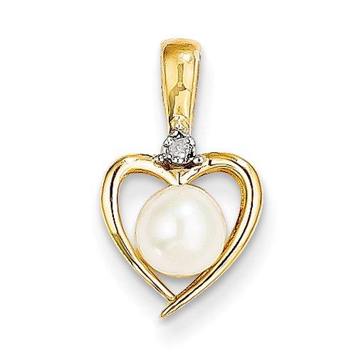 10 k diamant et perle de culture d'eau douce-Pendentif or de haute qualité Or 9 JewelryWeb carats