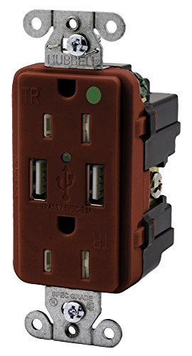 Hubbell Wiring Systems USB8200R Straight Blade Devices, Decorator Duplex, Receptacle, 3 Amp, 5V USB Ports, Hospital Grade, 15 Amp, 125V, 2-Pole 3-WireGrounding, 5-15R, Red ()