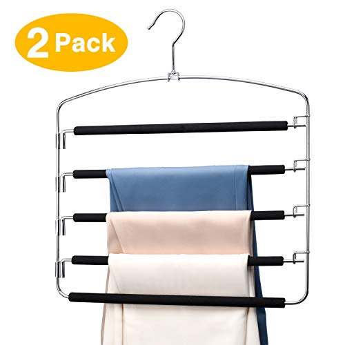 HOUSE DAY Pants Hangers 5 Layers Multi Pants Hanger Space Saving Trouser Hanger 2 Pack Hangers for Pants Closet Storage Organizer Multiple Slack Hanger Space Saving Pant Hangers Scarf Hangers for Pan