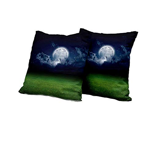 All of better futon Cushion Cover Mystic House Decor,Grass Field Sports Stadium Under Cloudy Night Sky with Moon Lunar Mystic,Green Navy Outdoor Pillow Covers 18x18 INCH -