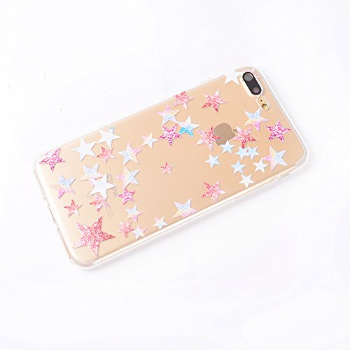 iPhone 6S Case,iPhone 6 Case4.5Funda de Silicona Suave Case Cover Protección cáscara Soft Gel TPU Carcasa [Ultra-delgado] [Shock-Absorción] para Apple iPhone 6/iPhone 6S-Amor Linda estrella de cinco puntas