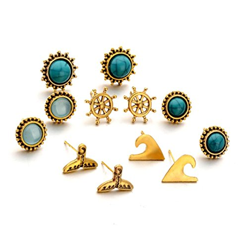 Beuu Jumping Property Prices 12pc Earrings Set Bohemia Women Retro Silver Ear Clip Stud Dangle Fashion Jewelry New Fashion Crystal Rhinestone Small Lovely Stud Earrings (Gold)